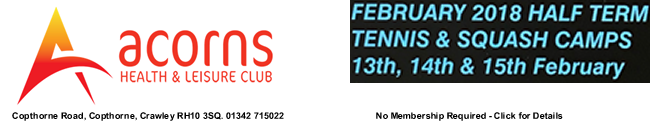 Half-Term Squash and Tennis Camps - Feb 2018